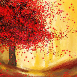 Majestic Autumn - Impressionist Painting by Lourry Legarde