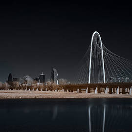 Margaret Hunt Hill Bridge And Dallas Skyline In Infrared by Todd Aaron
