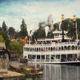 Mark Twain Riverboat Frontierland Disneyland Textured Sky by Thomas Woolworth