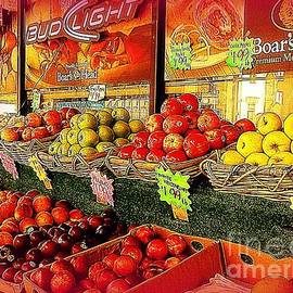Miriam Danar - Apples and Plums in Red - Outdoor Markets of New York City