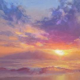 Karen Whitworth - Maui to Molokai Hawaiian Sunset Beach and Ocean Impressionistic Landscape