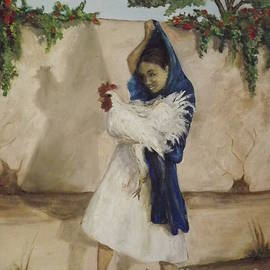 Mexican Girl with a Rooster by Lorita Montgomery