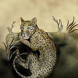 Gerald Griffin - Middle Leopard Resting On Log