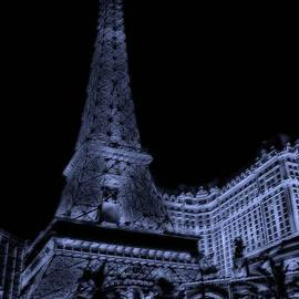 Midnight At The Eiffel Tower In Paris Las Vegas by Thomas Woolworth