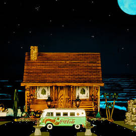 Leslie Crotty - Miniature Log Cabin Scene With Old Time Vintage Classic 1962 Coca Cola Flower Power V.w. Micro Bus