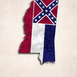 World Art Prints And Designs - Mississippi Map Art with Flag Design