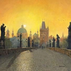 Richard Harpum - Misty Dawn Charles Bridge Prague