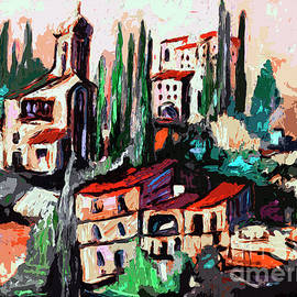 Ginette Callaway - Modern Expressive Tuscan Village Art