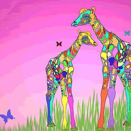 Mom and Baby Giraffe Unconditional Love by Joyce Dickens