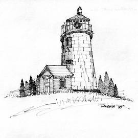 Monhegan Lighthouse 1987 by Richard Wambach