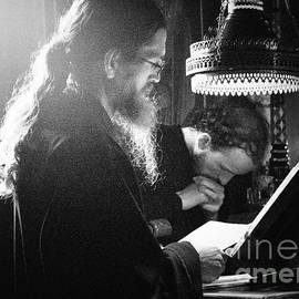 Mount Athos - Monk praying  - BW