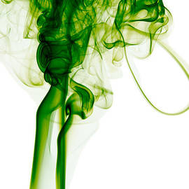 Alexandra K - Abstract Vertical Green Mood Colored Smoke Wall Art 03