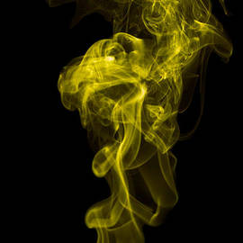 Mood Colored Abstract Vertical Yellow Smoke Wall Art 01 by A K Art