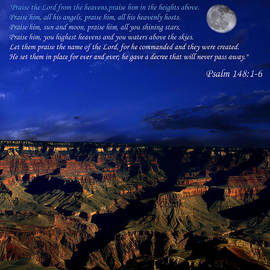 Moon Over Canyon With Psalm by Anthony Jones