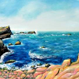 Morning Sea with Birds on Rocks by Asha Carolyn Young