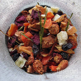 Mosaic Fruity Tea with Bamboo Leaves Square  by Ausra Huntington nee Paulauskaite