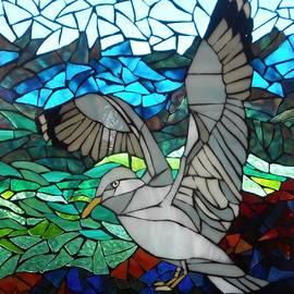 Mosaic Stained Glass - Blue Rocks by Catherine Van Der Woerd
