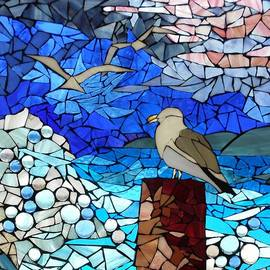 Mosaic Stained Glass - Three's a crowd by Catherine Van Der Woerd