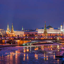 Alexander Senin - Moscow Kremlin And Big Stone Bridge At Winter Night - Featured 3