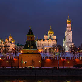 Alexander Senin - Moscow Kremlin Cathedrals At Night - Square