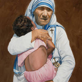 Mother Teresa holding a child by Dominique Amendola