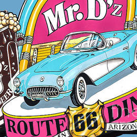 Mr Dz Route 66 Diner Sign In Kingman Arizona by John Wayland