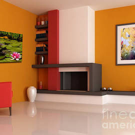 My Art In Modern Room by Lawrence Costales