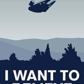 My I want to believe minimal poster-millennium falcon by Chungkong Art