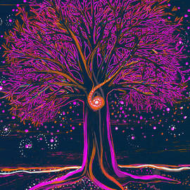 First Star Art - Mystic Spiral Tree 1 pink by jrr