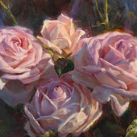 Nana's Roses Impressionistic Oil Painting of Beautiful Flowers by Karen Whitworth