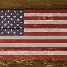 United States Of America National Flag On Wood by Movie Poster Prints