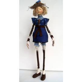Linda Apple - Nature Guardian Earth and Sky mixed media art doll sculpture