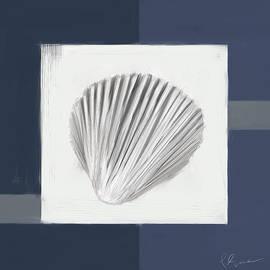 Navy Seashells V - Navy And Gray Art by Lourry Legarde