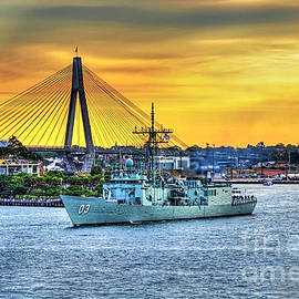 Navy Ship and Anzac Bridge at Sunset