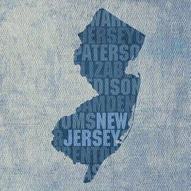 New Jersey Word Art State Map on Canvas