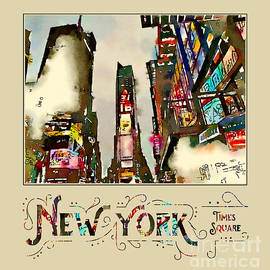 New York City Late Night Times Square Digital Watercolor 2 by Beverly Claire Kaiya
