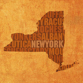 New York Word Art State Map on Canvas