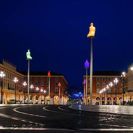 Nice France - Place Massena Blue Hour  by Georgia Mizuleva