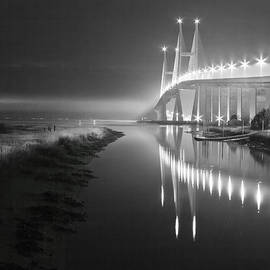 Night Lights in Black and White by Debra and Dave Vanderlaan