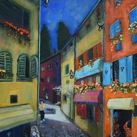 Night Street In Pula by Raija Merila
