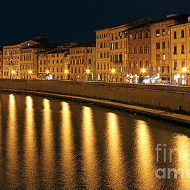 Kiril Stanchev - Night View of river Arno bank in Pisa