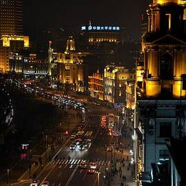 Night view of the Bund Shanghai China by Imran Ahmed