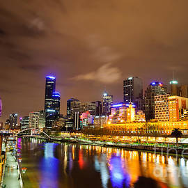 Night view of the Yarra River and skyscrapers - Melbourne - Australia by David Hill