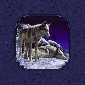 Crista Forest - Night Wolves Painting for Pillows