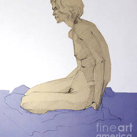 Nude Figure In Blue by Greta Corens