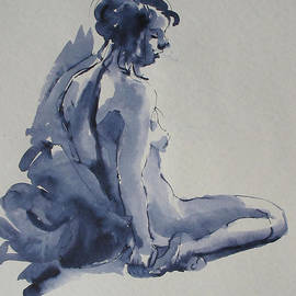 Nude sitting on the floor by Dominique Amendola
