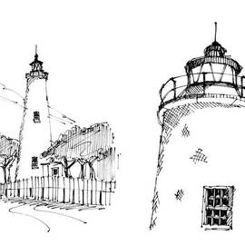 Ocaracoke Lighthouse Detail Sketches 1992 by Richard Wambach