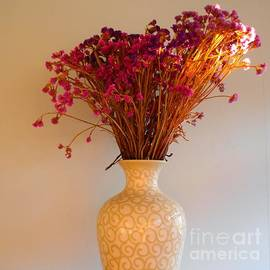 Office After-Hours - Vase with Purple and Orange Dried Flowers