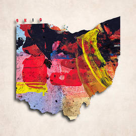 World Art Prints And Designs - Ohio Map Art - Painted Map of Ohio