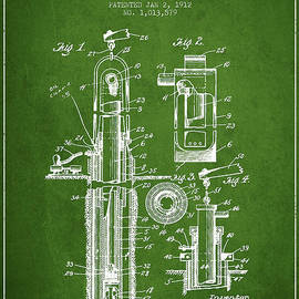 Aged Pixel - Oil Well Pump Patent From 1912 - Green
